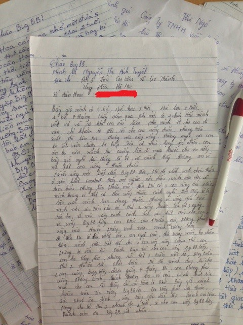 Bức thư tay của mẹNguyễn Thị Ánh Tuyết gửi về cho BigBB Plus (Ảnh: Nguồn BigBB Plus)